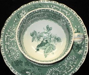 SPODE CAMILLA DK GREEN TURQUOISE TEA CUP AND SAUCER