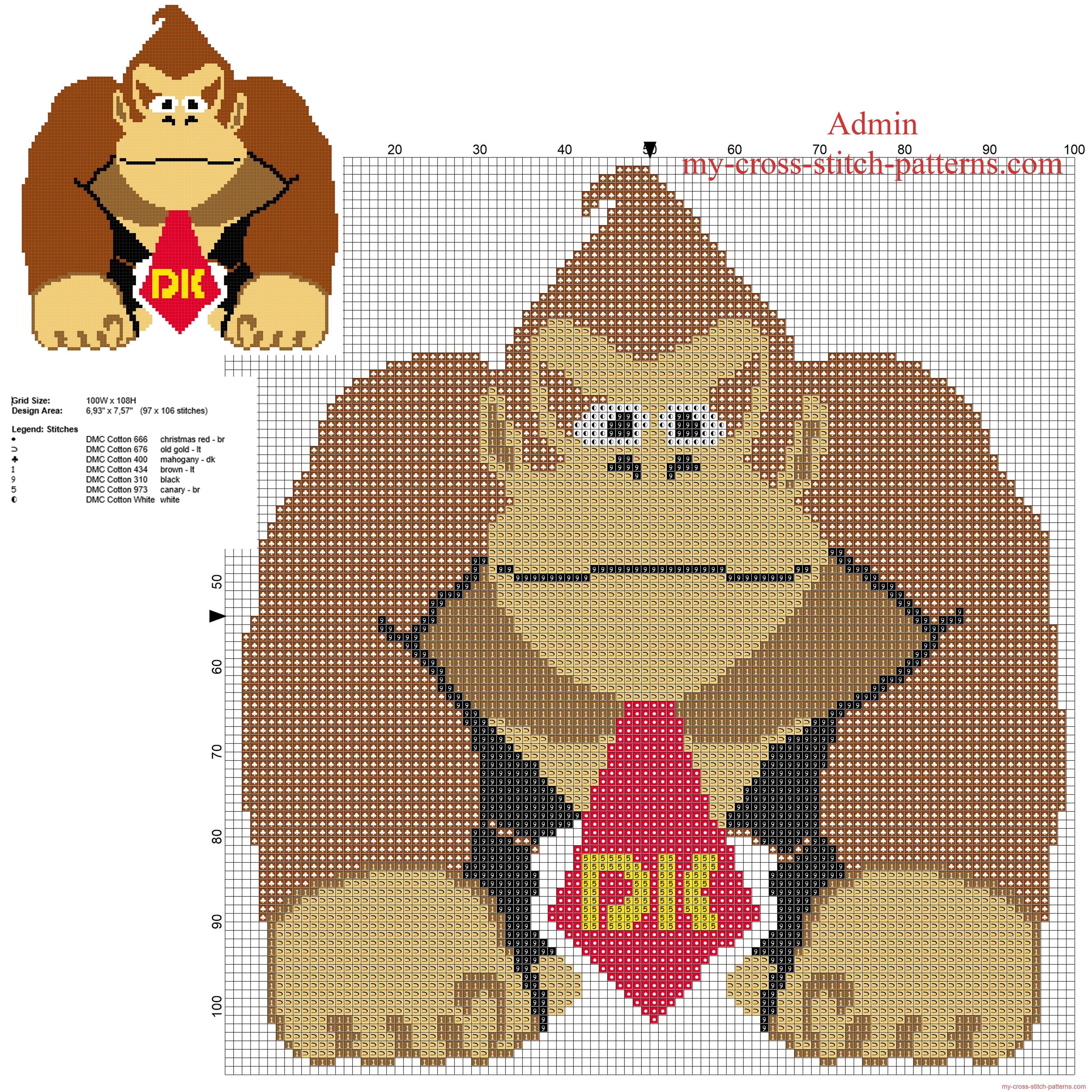 Donkey Kong Super Mario character free cross stitch pattern