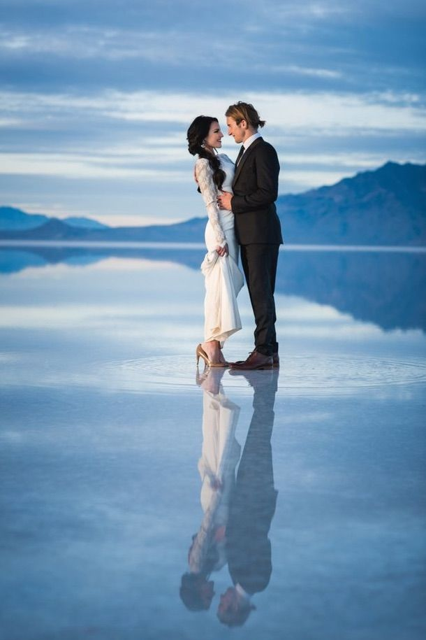0cd388794e48 Beautifully Surreal Wedding Photos Show Couple Walking on Water - My Modern  Met