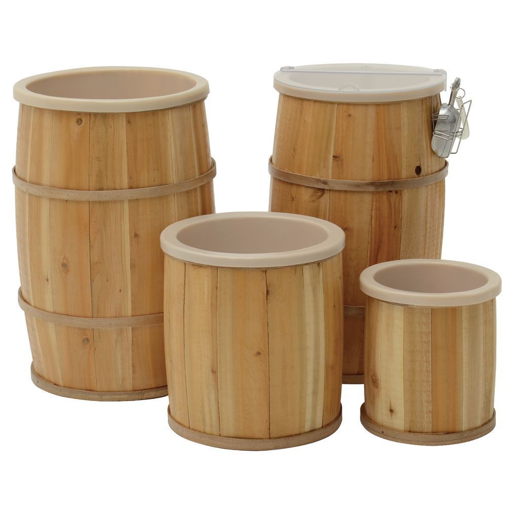 Natural Wooden Lined Bulk Food Barrel 16Dia x 24H Italian
