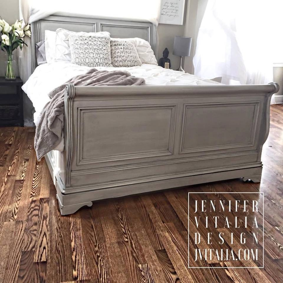 Sleigh bed gray hand painted romantic clean lined beds custom