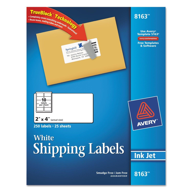 Averyr Shipping Labels With Trueblockr Technology For Inkjet