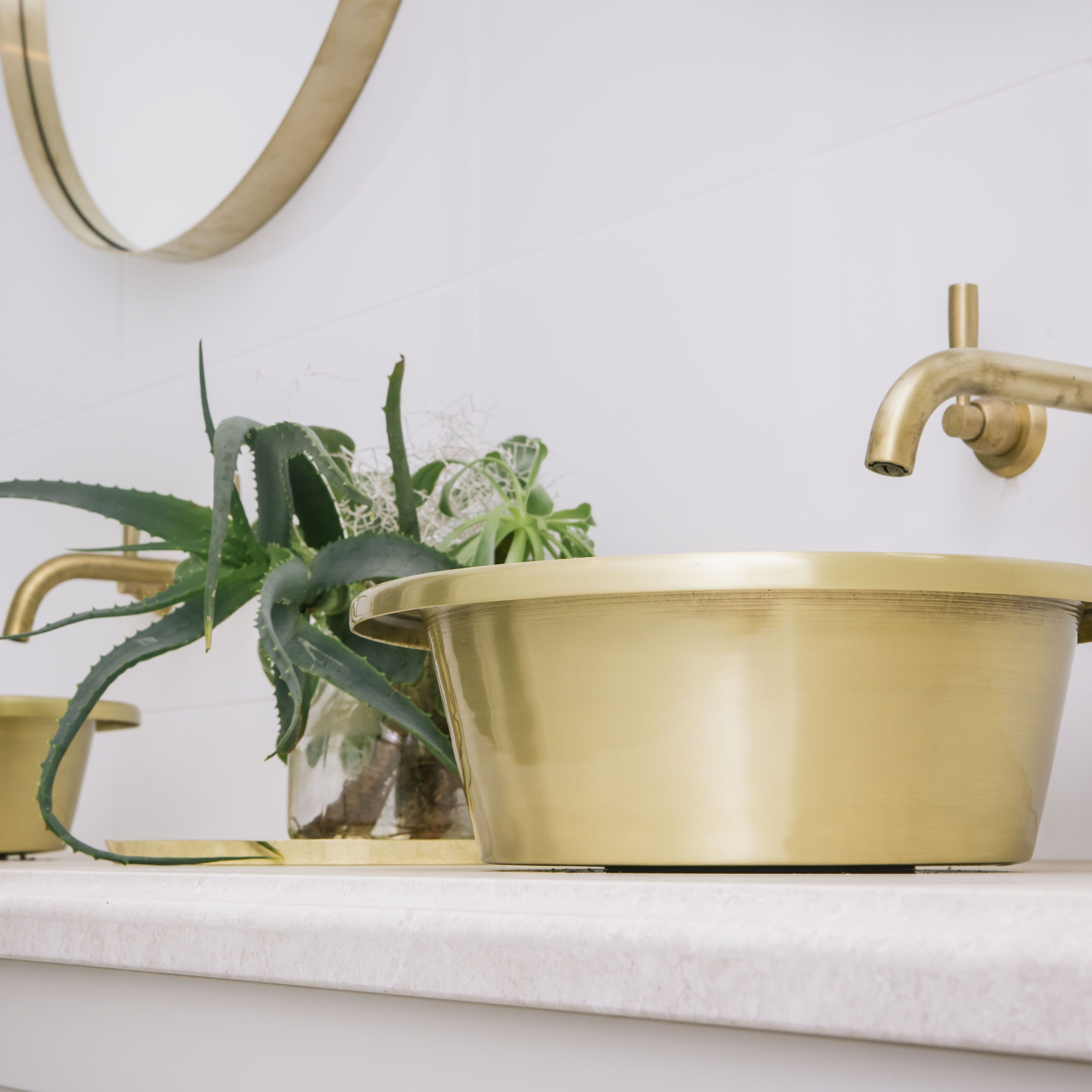 The understated glamour of our brushed brass Orlo basins. www.williamholland.com