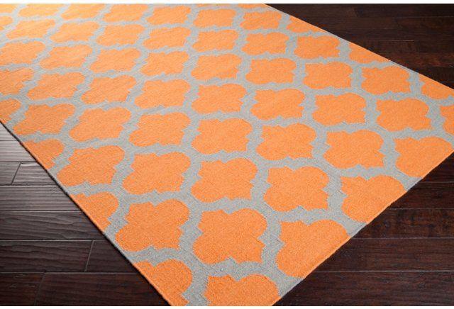 Laurel Rug, Pumpkin/Flint Gray #OKL $55.00