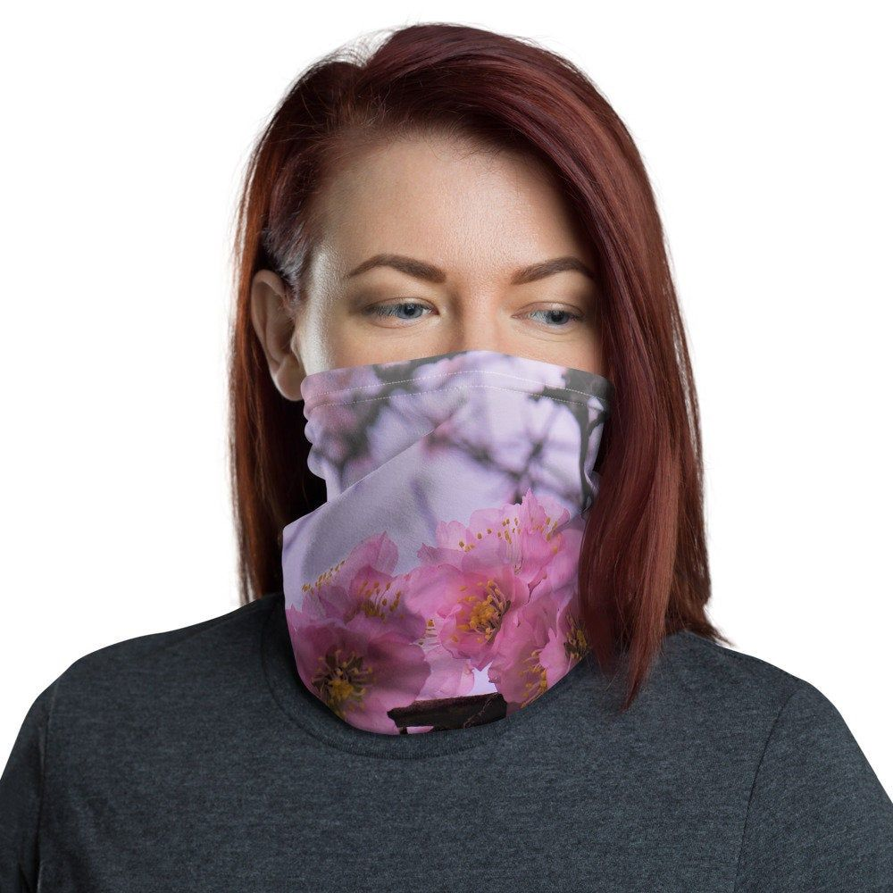 Pink Flower Neck gaiter Protective Mask Etsy in 2020