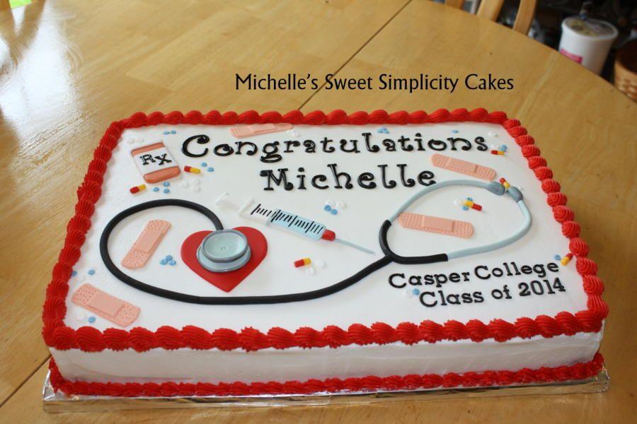 1 2 Sheet Nursing School Graduation Cake With Butter Cream