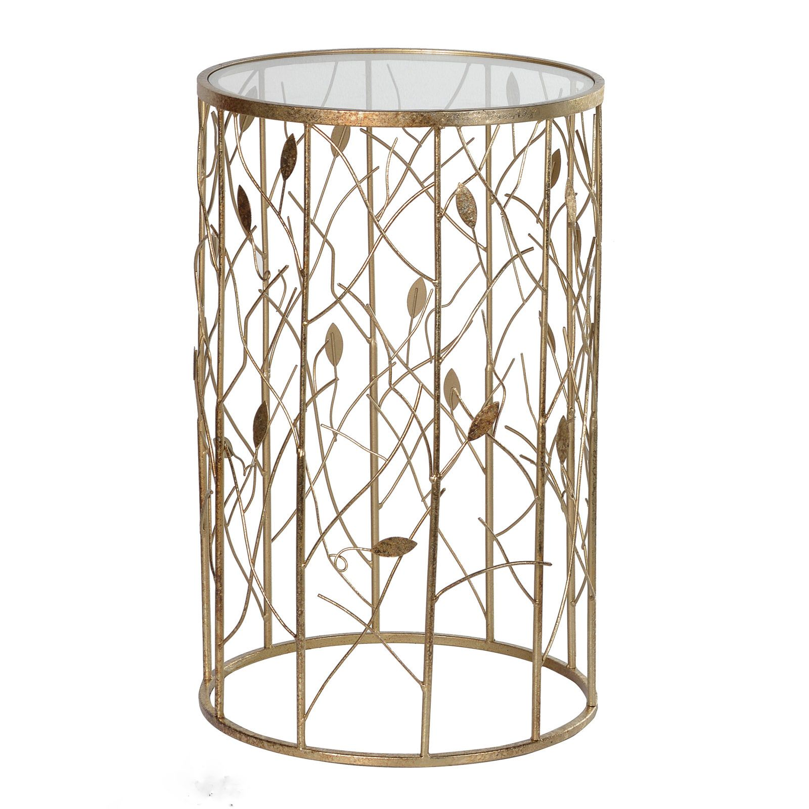 Round Gold Metal Side Table With Cut Out Branch And Leaf Design To Base