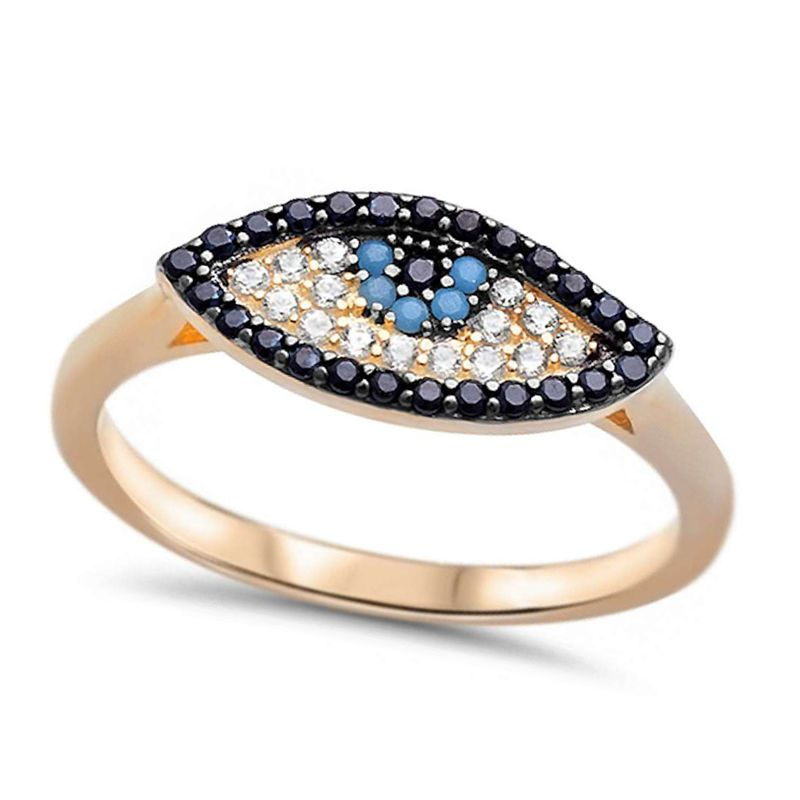 Turkish Evil Eye Earring Simulated Turquoise Black White CZ Rose Gold Plated
