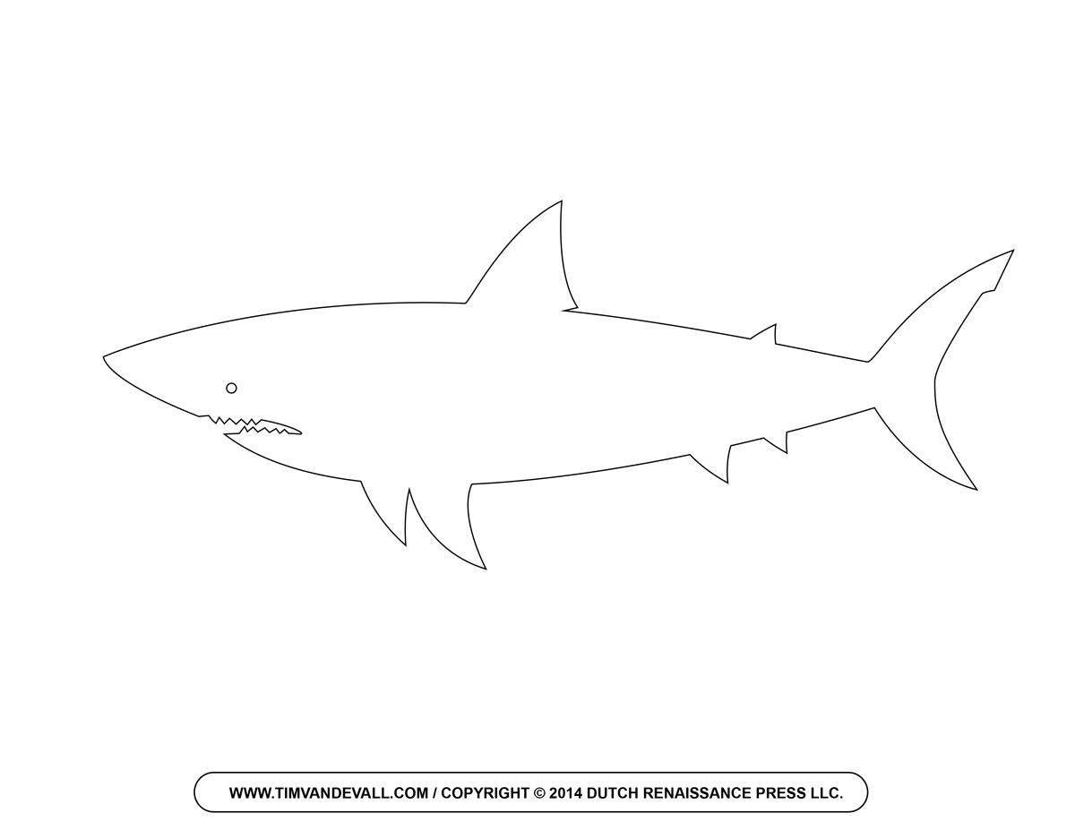 Line Drawing Shark : Free cartoon shark clipart outline and