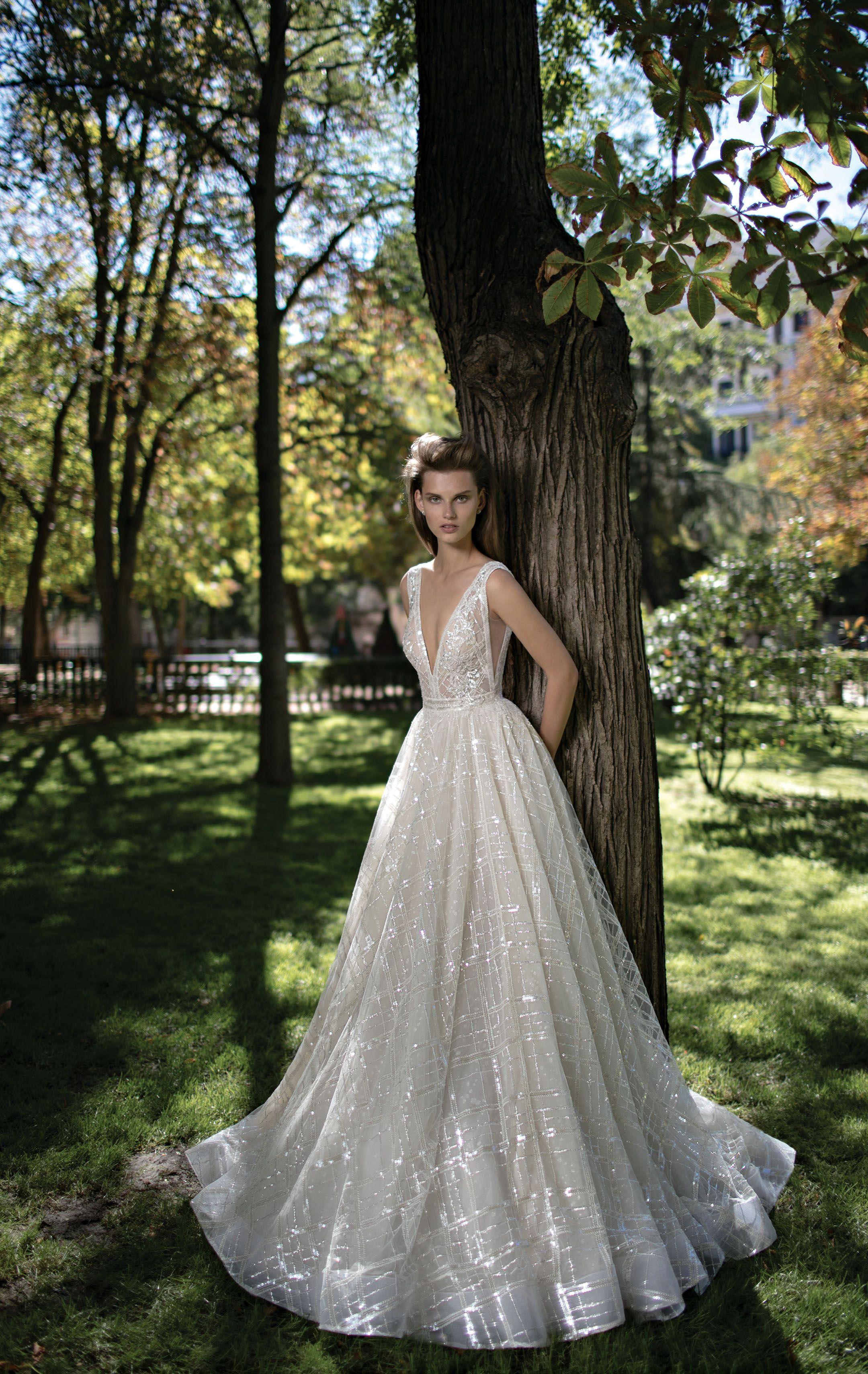 Berta Fall 2016 Bridal Gorgeous Pretty A Line Wedding Ball Gown Dress Sleeveless Deep V Plunging Neckline