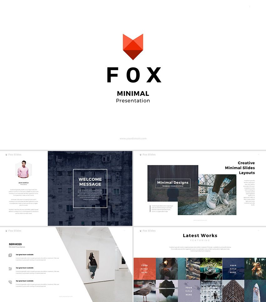 Fox minimal powerpoint template cool powerpoint templates fox minimal powerpoint template toneelgroepblik Gallery