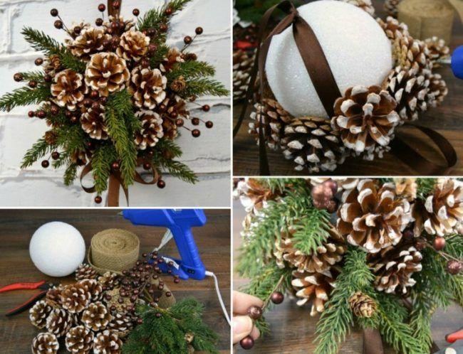 weihnachtsdeko selber machen kissing ball styropor kugel tannenzapfen geschenkideen. Black Bedroom Furniture Sets. Home Design Ideas