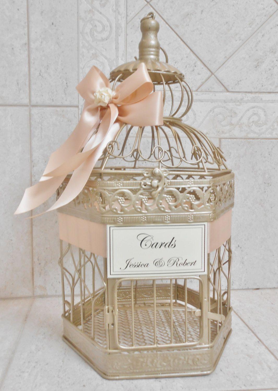 Champagne Gold Wedding Birdcage Card Holder | Wedding Card Box ...