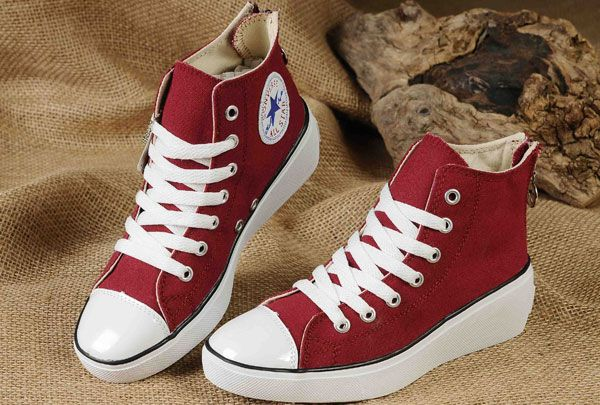 593a3d5dc686 Maroon Converse All Star Platform Women High Tops Sneakers Chuck Taylor  Wine Red Canvas Elevated heel Zipper  converse  shoes
