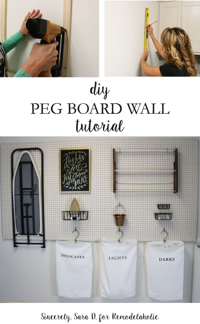 Hang pegboard along one wall for versatile and inexpensive laundry room storage. This tutorial shows you how to hang it to be strong and stable enough to hold even heavier items, like an ironing board. #laundryrooms