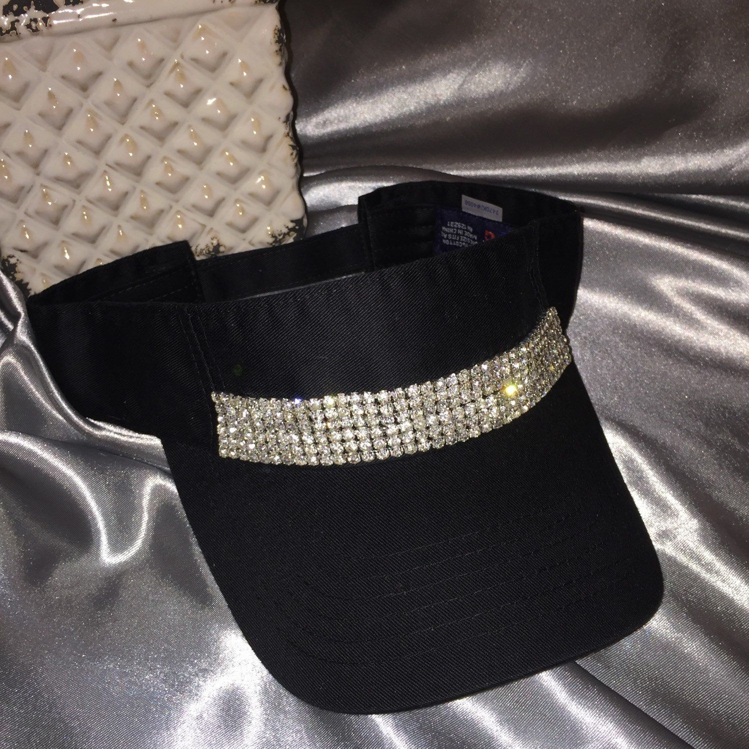 Gorgeous Black Women s sun visor with 6 rows of crazy bright crystals!  Great for a game of golf! Or just hanging on the beach. But be noticed 155a400c833