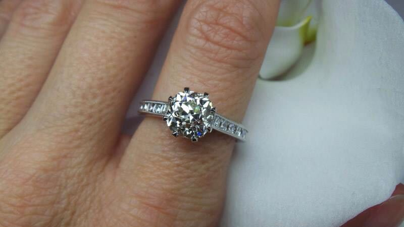 """Antique cushion cut diamond with French cut diamond side stones by David Klass Jewelry. For more photos see the """"Antique-Inspired"""" folder."""