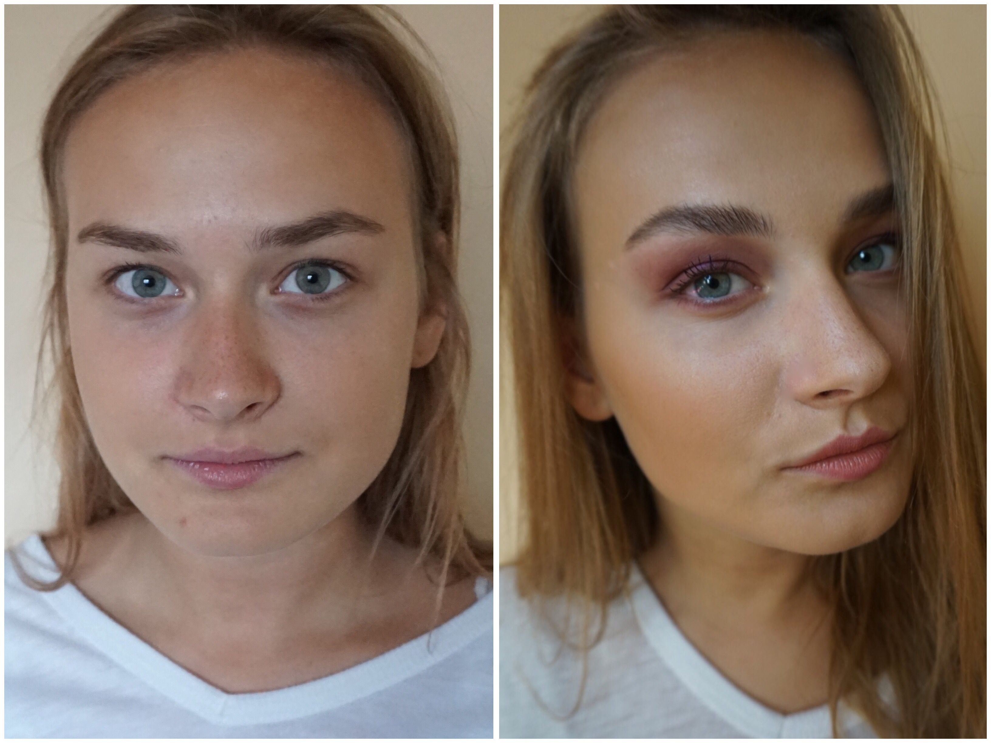 before after evening makeup young beauty blue eyes