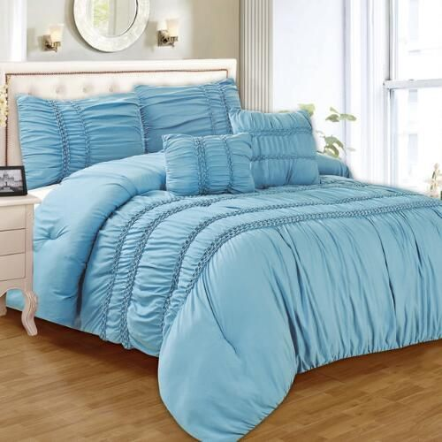 One of my favorite discoveries at ChristmasTreeShops.com: Blue Smocked Bedding Set, 5-Piece