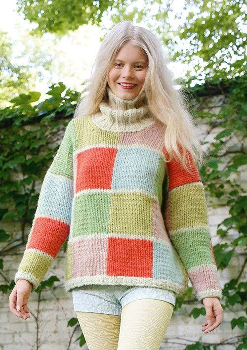 Weiten Pullover mit Karos in Hellblau, Orange, Rosa, Grün