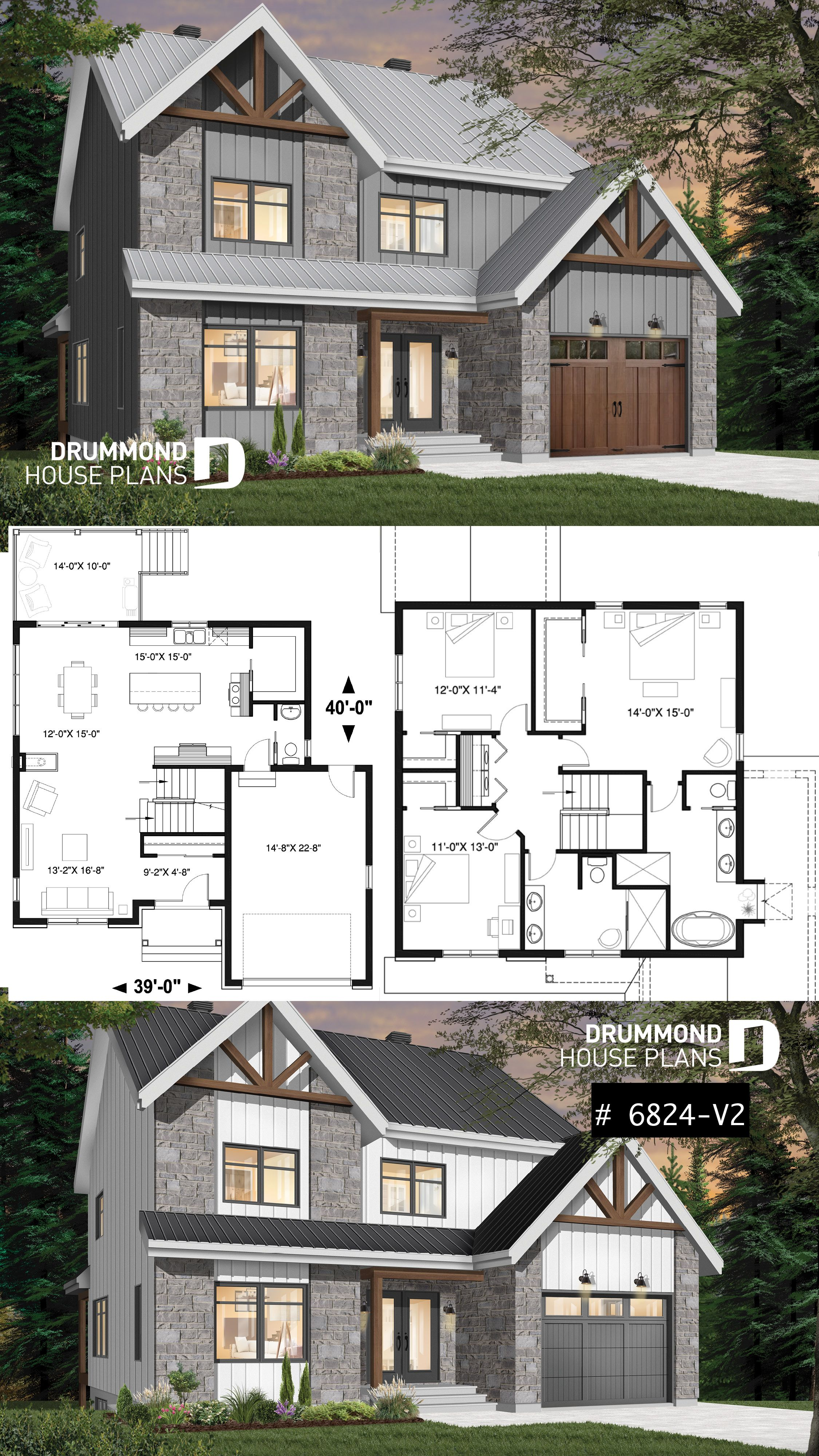 Discover the plan 6824 V2 Frontenac 3 which will please you for its 3 bedrooms and for its Craftsman Northwest styles