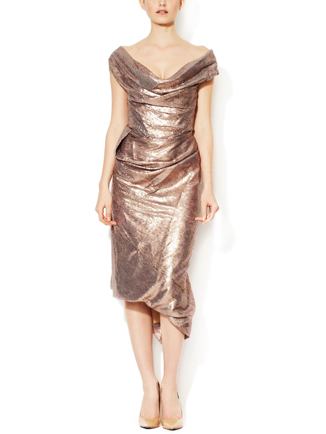 Gold label sequin draped dress by vivienne westwood at