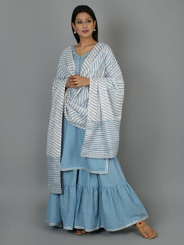 c704bba71b4 Light Blue Cotton Gota Sharara Set - Set of 3