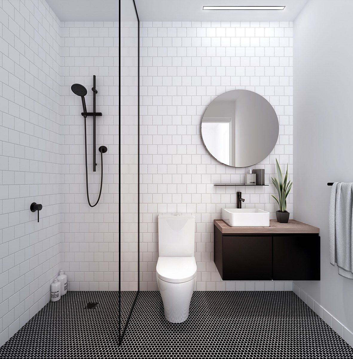 white tile walls | minimalist bathroom | divider between toilet and ...