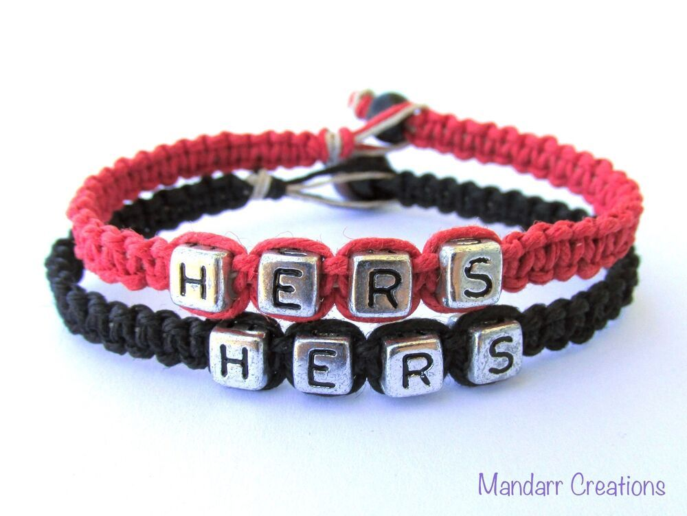 Hers and hers red and black hemp jewelry for couples
