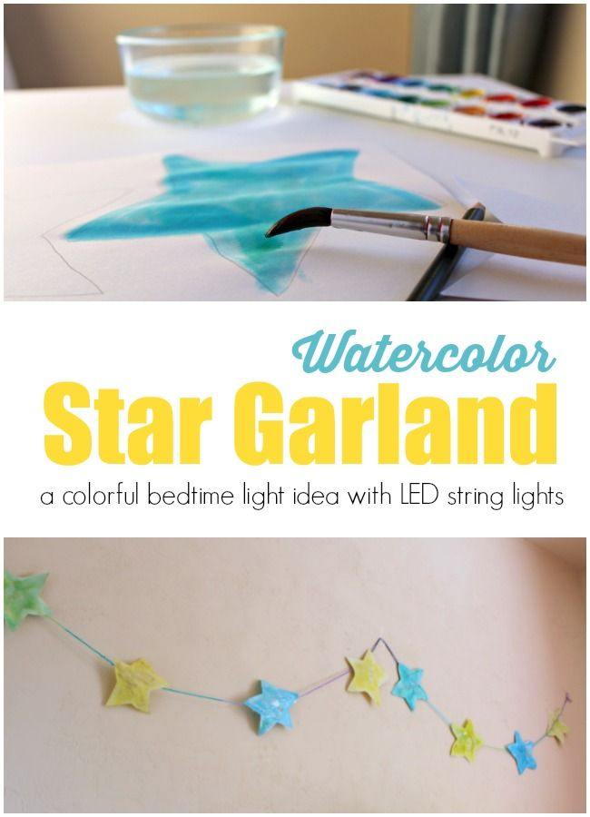 Create a colorful star themed night for bedtime with your child with this star garland. A creative way to decorate your child's room for bedtime with lights