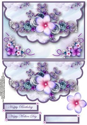 Pretty lilac envelope card with decoupage on Craftsuprint designed by Amanda McGee - A stunning envelope card featuring pretty lilac floral embelishments - Now available for download!