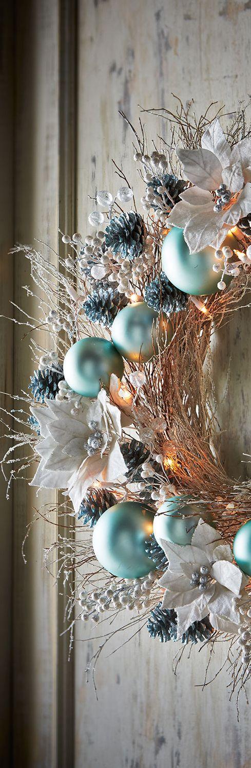 Ice Blue Silver Wreath Christmas Decor Christmas