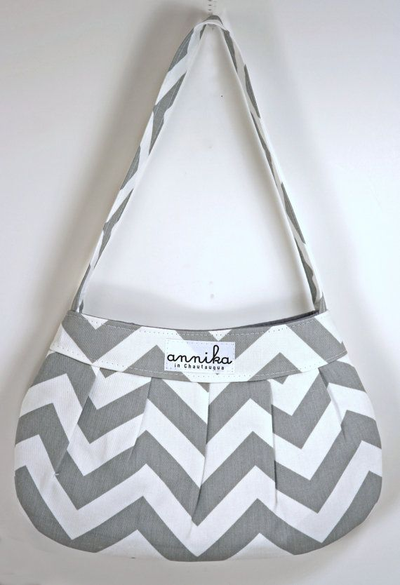 Handmade Chevron Buttercup Bag in Gray and White Premier Prints Zigzag...From Annika in Chautauqua