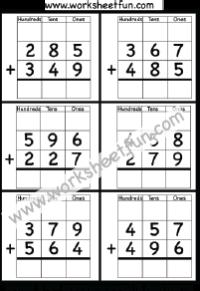 3 digit addition with regrouping carrying 5 worksheets printable worksheets. Black Bedroom Furniture Sets. Home Design Ideas