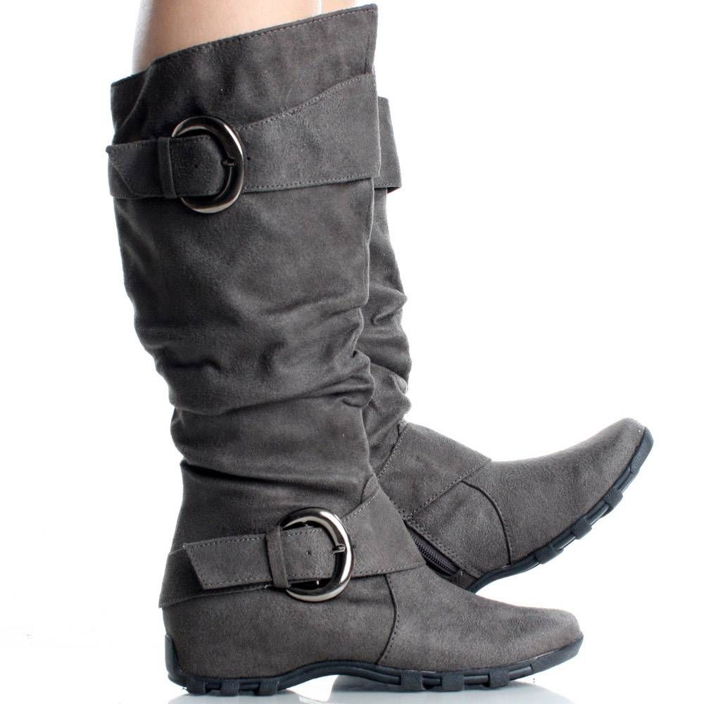 Gray Flat Knee High Boots Slouch Tall
