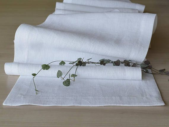 White Natural Linen Table Runner 120 Inch Long Dining Table Linen Table Runner Dining Table Runners Long Dining Table