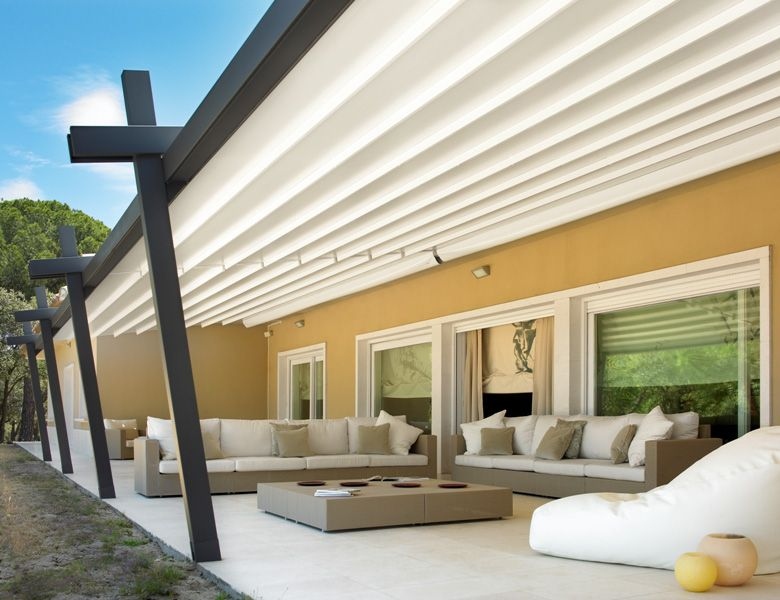Great Retractable Attached Angled Front Post WaterPROOF (not WaterRESISTANT) Patio  Cover System. See This