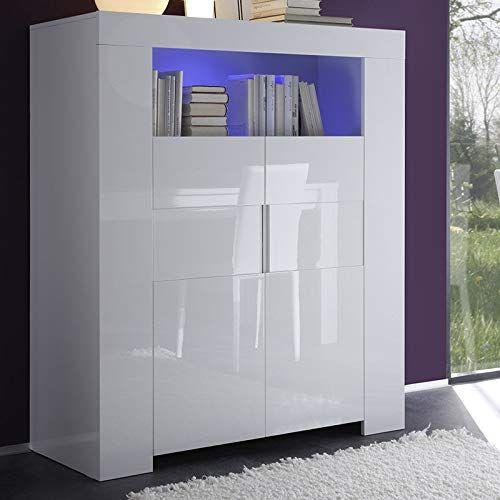Buffet haut design blanc laqué LIMA ameublement et décoration en