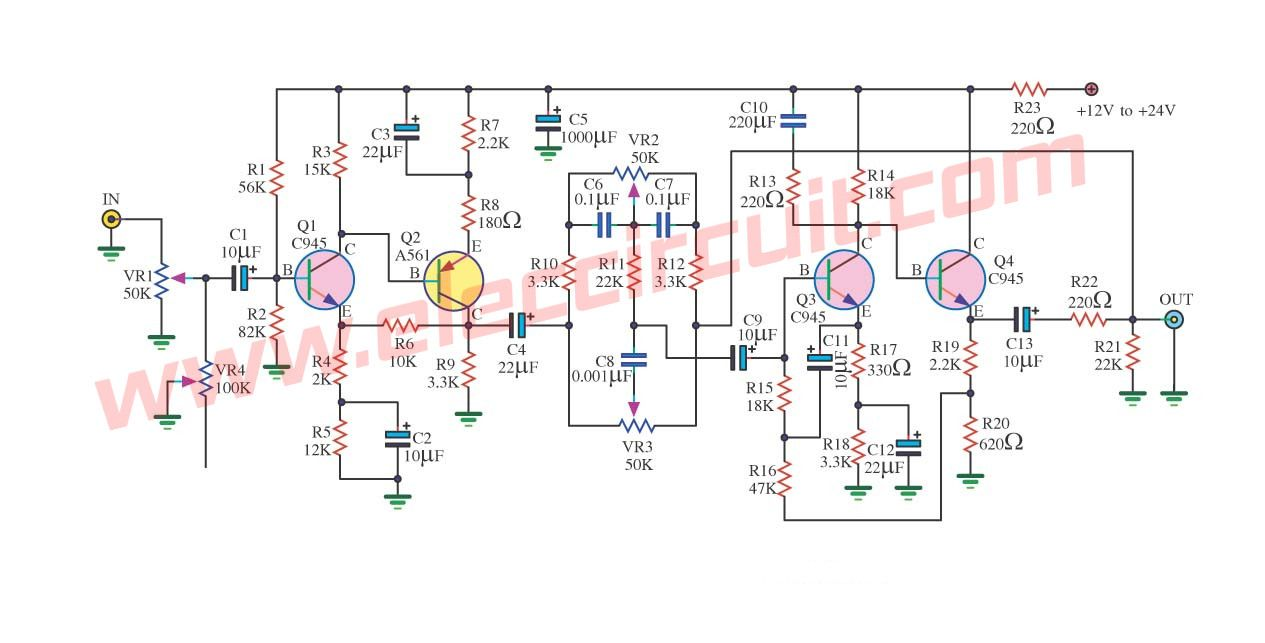 Top 7 Tone Control Circuit Low Noise Eleccircuitcom Audio Power Amplifier Schematics 4w 8 Watt Amp Old Using 4 Transistors Dc Electronics Projects