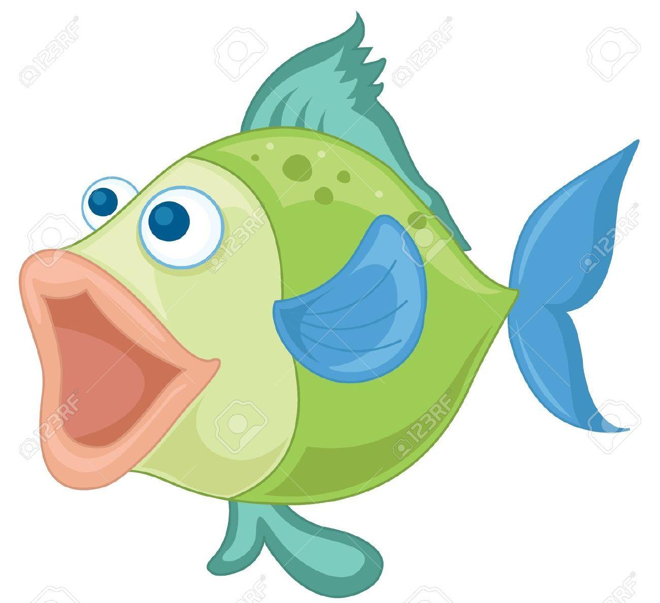 Ilustración de un pescado azul-verde sobre un fondo blanco ...