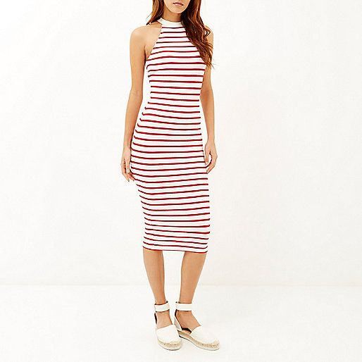 Womens Blue stripe rib midi dress River Island b05Ef02lO