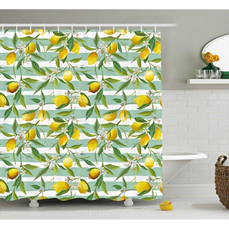 Nature Shower Curtain By Ambesonne Blooming Lemon Tree On Striped Paintbrush Background Evergreen Art Flower Shower Curtain Bathroom Decor Sets Flower Shower