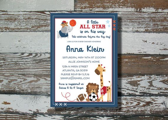 Lambs and Ivy All Star Baby Shower Invitation - Printable   Mona-Q\'s ...