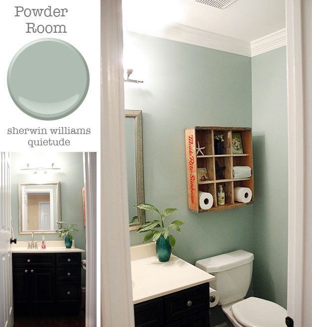 Powder room sherwin williams quietude pretty handy girl for Powder room color ideas