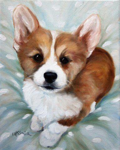 Print Pembroke Welsh Corgi Dog Art Oil By Hangingthemoonshelby 29 95 Dog Art Corgi Drawing Corgi Art