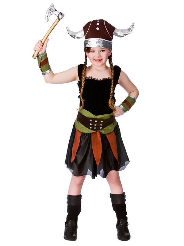 Girls Viking Costume Childs Saxon Fancy Dress Norse Warrior Book Week Outfit