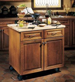 Kitchen Island Kraftmaid storage solutions details - floating island base - kraftmaid