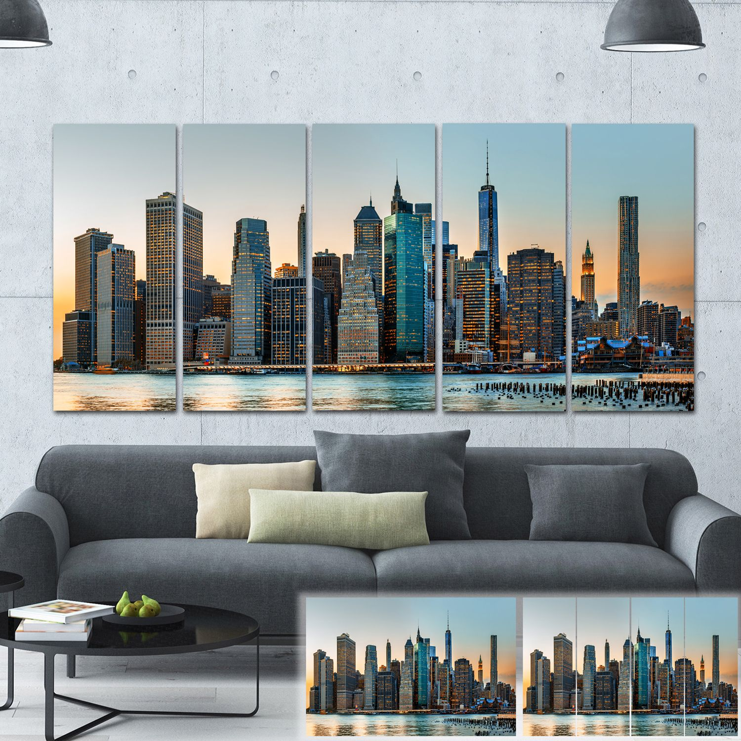 Designart New York City Skyline Photography Large Canvas Print By