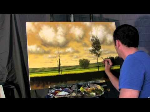 A Gold Balance - Time Lapse Speed landscape cloud painting by Tim Gagnon, trees and fields... - YouTube