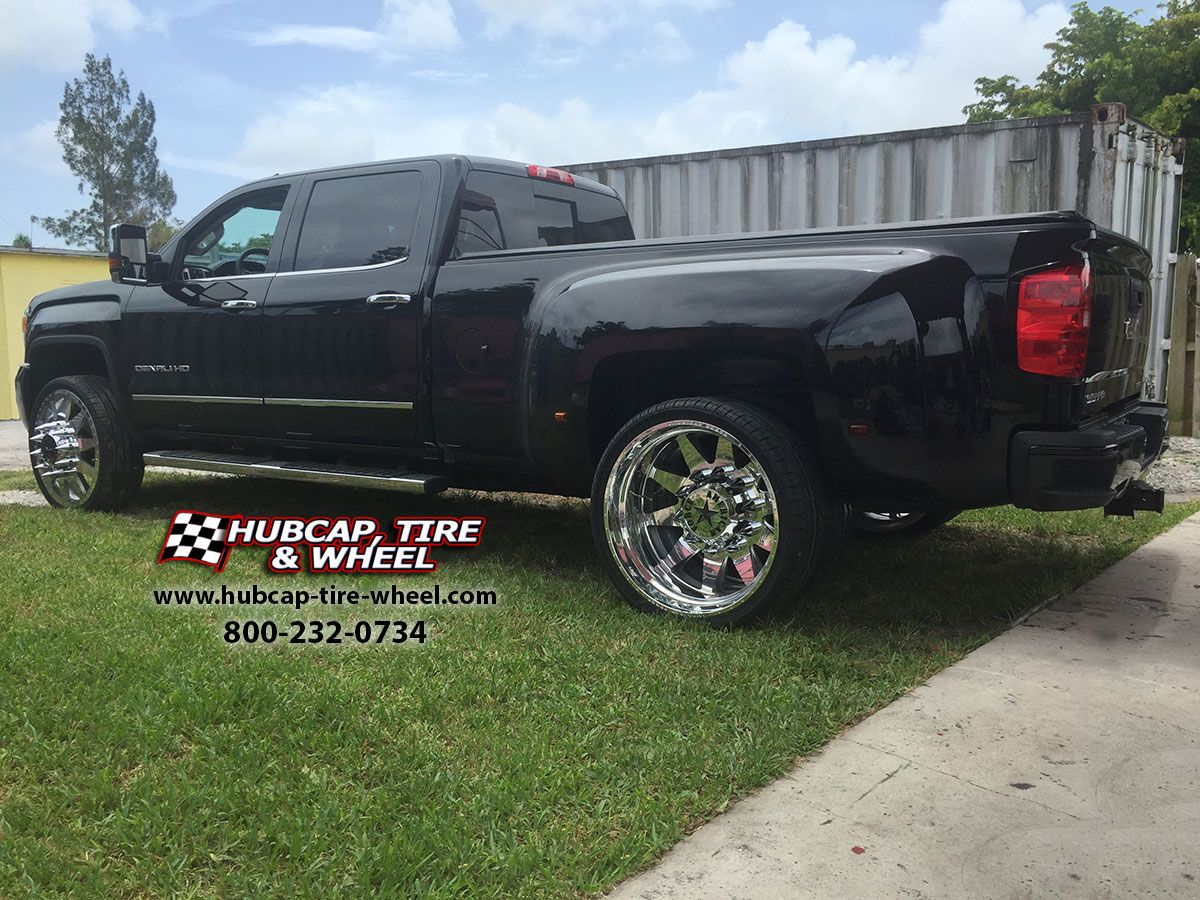 2014 gmc sierra 3500 hd denali dually with 26 american force independence polished wheels